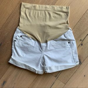 A:Glow white denim maternity shorts size 2